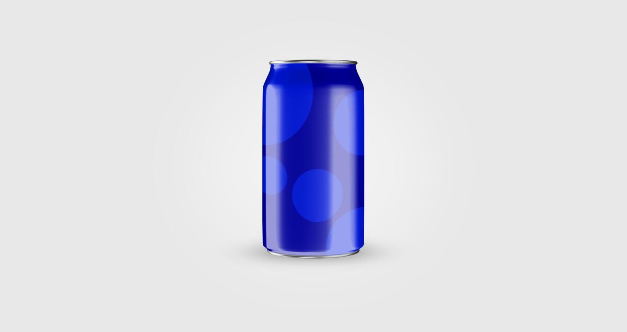 Na imagem, representação de lata de refrigerante, de cor azul predominante, usada pela Clarêncio.